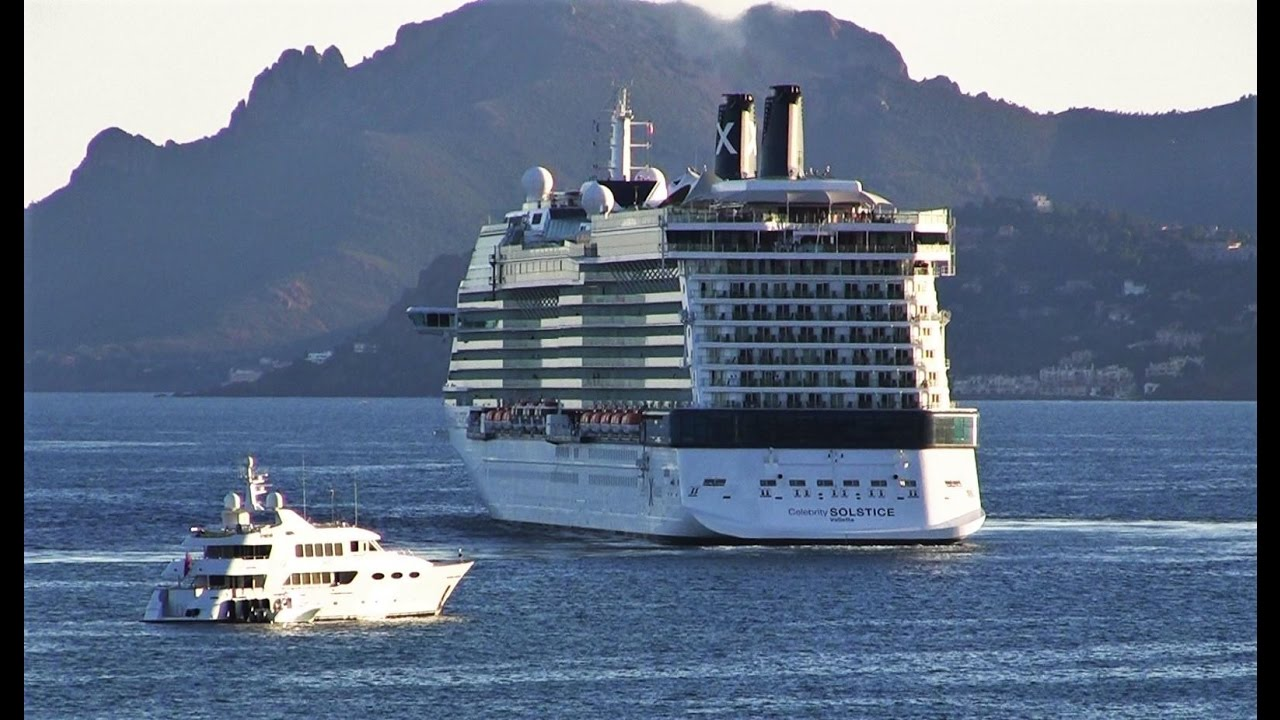Celebrity Solstice Cruise Ship Arrives In Cannes Filmed From - Cruise ship speed