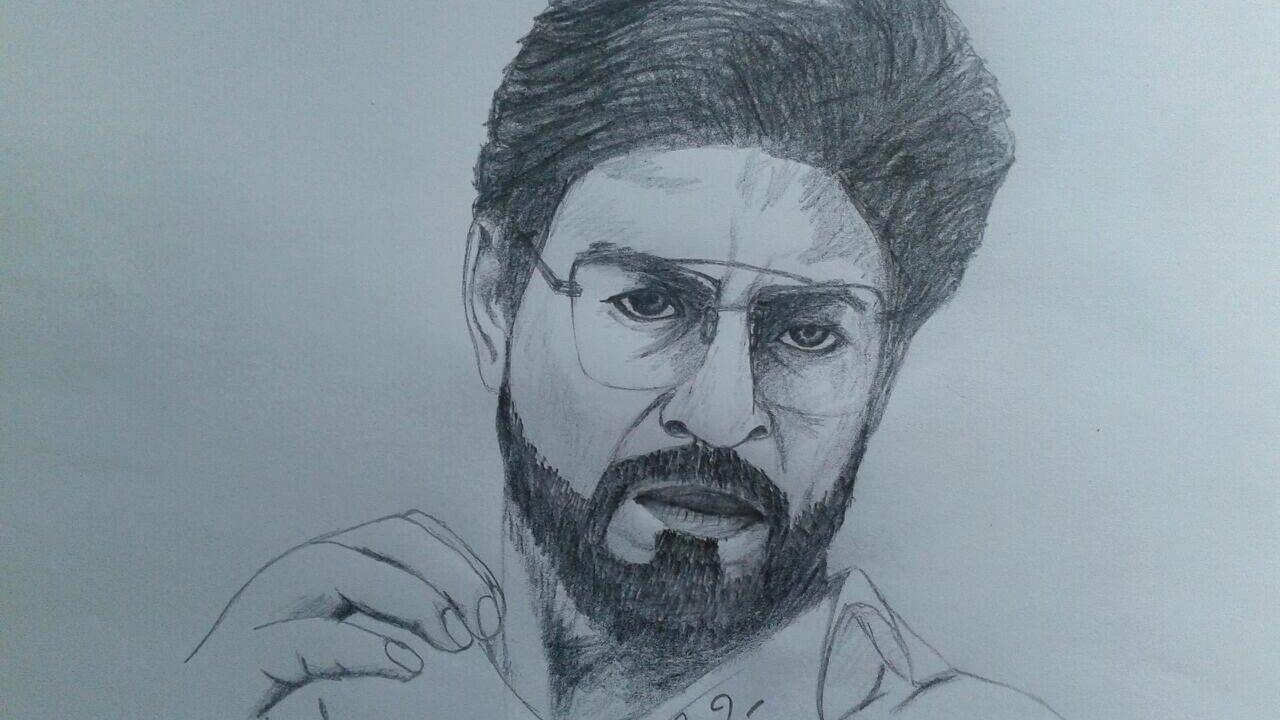 How to draw shahrukh khan raees