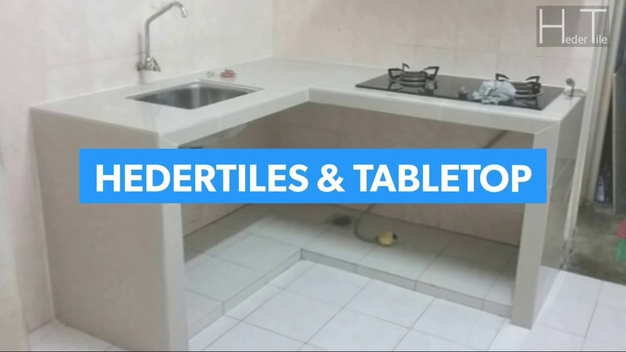 Buat table top 10kaki panjang bentuk L shape meja dapur