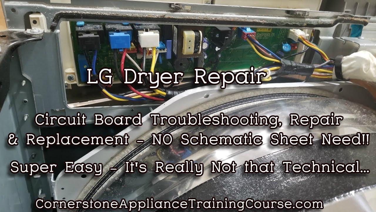 LG Dryer Repair - Circuit Board Troubleshooting Repair Replacement of  Mother Board