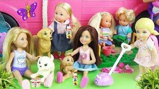 Мультик Детская площадка Мама Барби Челси играет с малышами куклами Приключения для девочек
