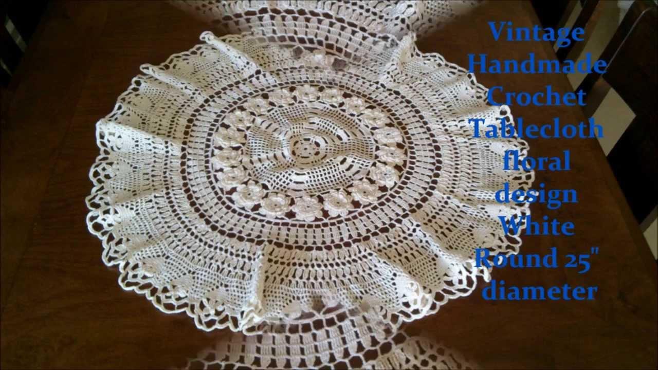 Vintage handmade crochet tablecloth floral design white for Made design