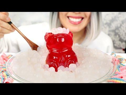 ASMR Eating Boba, Huge Gummy Bear, Sour Candy *No Talking