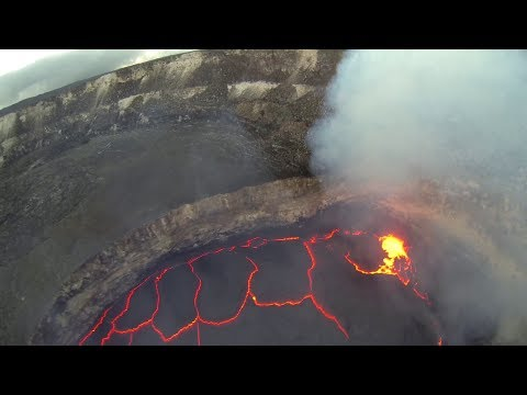 FPV RC Airplane Flying inside Volcano Crater Lava Lake Hawai'i