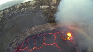FPV RC Airplane Flying inside Volcano Crater Lava Lake Hawai