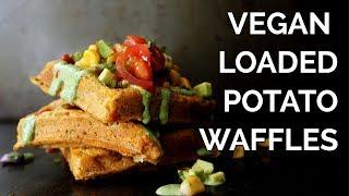 Vegan Loaded Potato Waffles | Vegan Brinner Collab