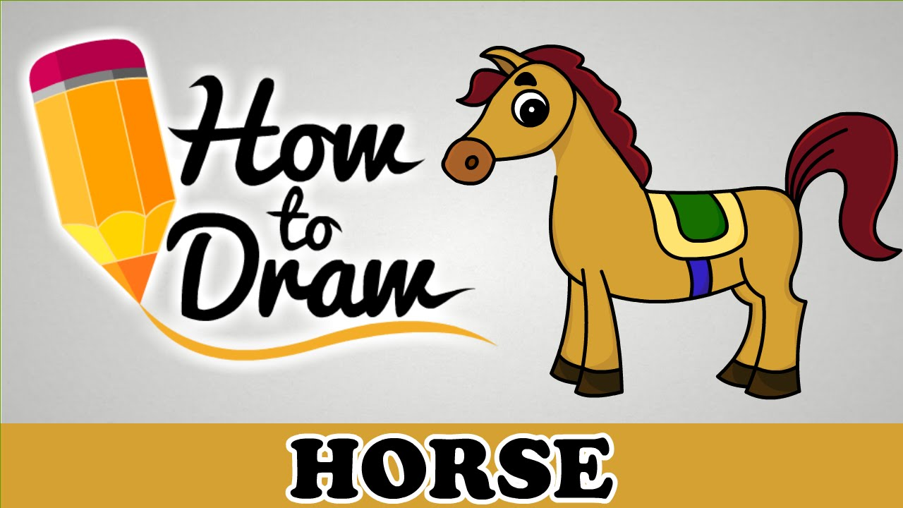 How To Draw A Horse   Easy Step By Step Cartoon Art Drawing Lesson Tutorial  For Kids U0026 Beginners   YouTube