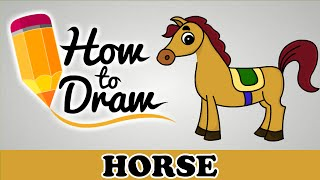 How To Draw A Horse - Easy Step By Step Cartoon Art Drawing Lesson Tutorial For Kids & Beginners