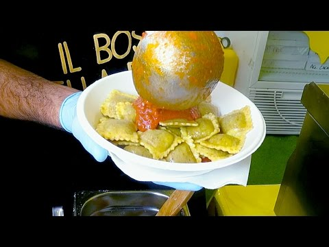 Italy Street food. Cooking Ravioli Dumplings, Meat Skewers and More