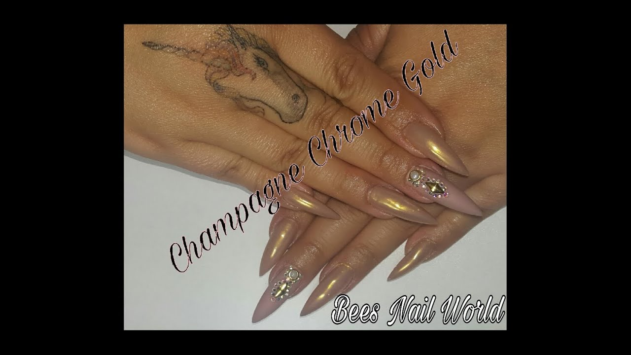 Champagne Chrome & Matte Nude Stiletto Nails W/ Bling - YouTube