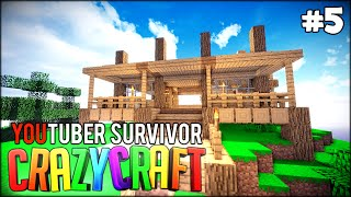 HOVERBOARD, CLOUDS AND BUILDING AN EPIC HOUSE - Minecraft: Youtuber Survivor! #5 (Crazy Craft 3.0)