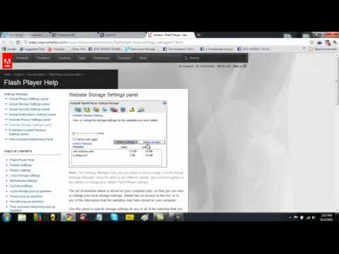 How to clear cookies. cache etc  in google chrome and How to use Adobe settings manager