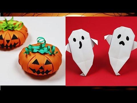 Paper Halloween Crafts | Origami Ghost / Origami Pumpkin | Paper Halloween Decorations