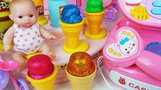 Baby Doll mart cash register and play doh IceCream shop toys car play - 토이몽