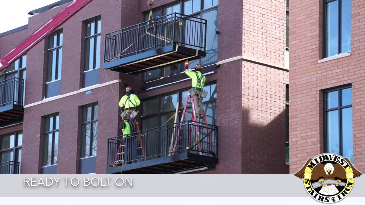 Midwest stairs iron ready to bolt on balconies youtube for What does balcony mean