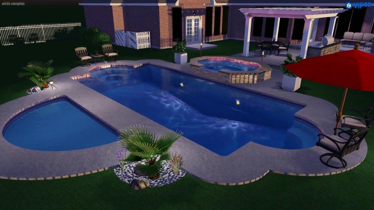 Pools of paradise 3d pool design the viking pool simi for 3d pool design videos