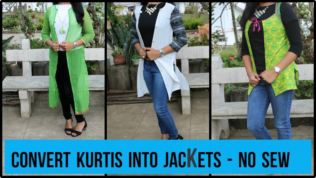 Convert Kurti S To Jackets Diy Long And Short Jacket No Sew