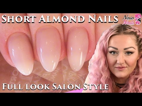 Tutorial: Salon Style Short Almond Shape Acrylic Nails Full Look