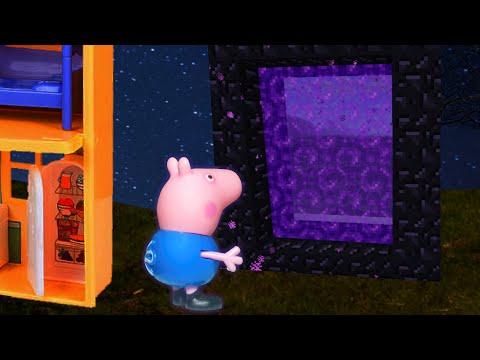 MINECRAFT PIG GEORGE DA FAMILIA PEPPA PIG O PORTAL DO NETHER!!! EM PORTUGUES DISNEY TOY KIDS
