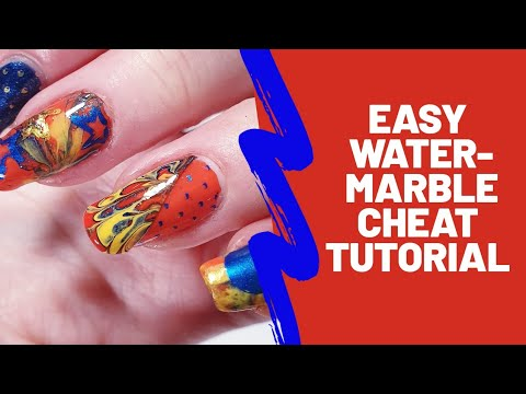 Easy watermarble cheat nail tutorial thumbnail