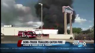 Two trailers catch fire at Lowe's