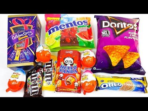 Kinder joy and other candies,cadbury celebrations,mentos,doritos,M&M,oreo