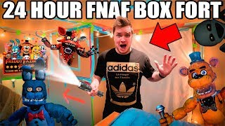 - 24 HOUR FNAF BOX FORT  Scary Real Life Five Nights At Freddys