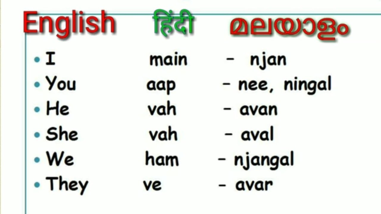 Hindi, Malayalam and English Pronouns |Simple and Basic Words Dictionary