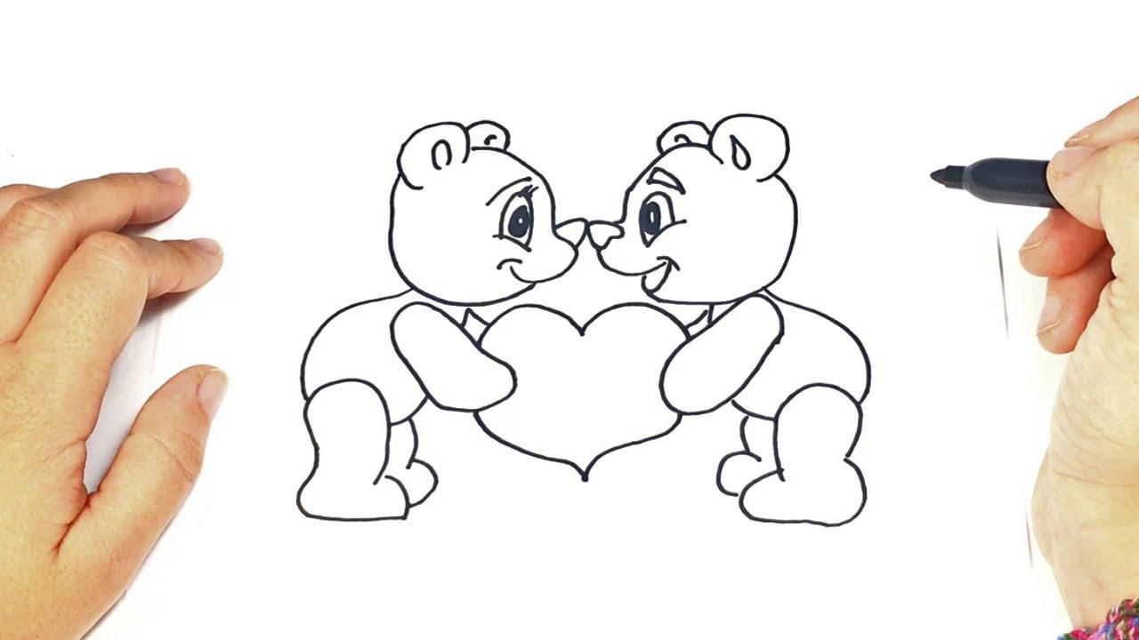 Como Dibujar Unos Ositos Enamorados Fácil