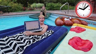 AIR MATTRESSES ON MY POOL OVERNIGHT CHALLENGE! thumbnail