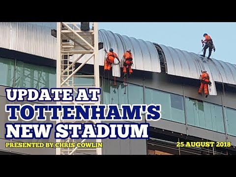 UPDATE AT TOTTENHAM'S NEW STADIUM: Roof Work Continues as Builders Work at Night: 25 August 2018