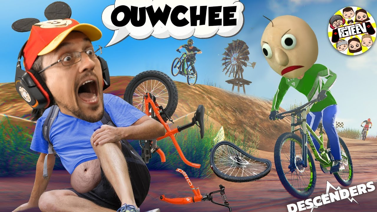 UNCLE BALDI GOT ME TWAINING WHEEWLZ!  Ouch! (FGTeeV Duddy Chunky Boy Descenders GameplaySkit)
