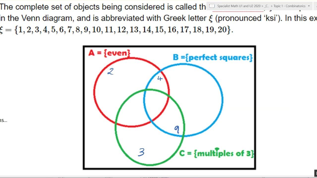 Venn Diagram set notation with three circles - YouTube