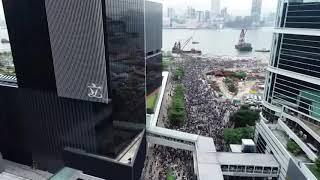 Aerial footage of Hong Kong protests