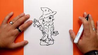 Como dibujar un espantapajaros paso a paso | How to draw a scarecrow