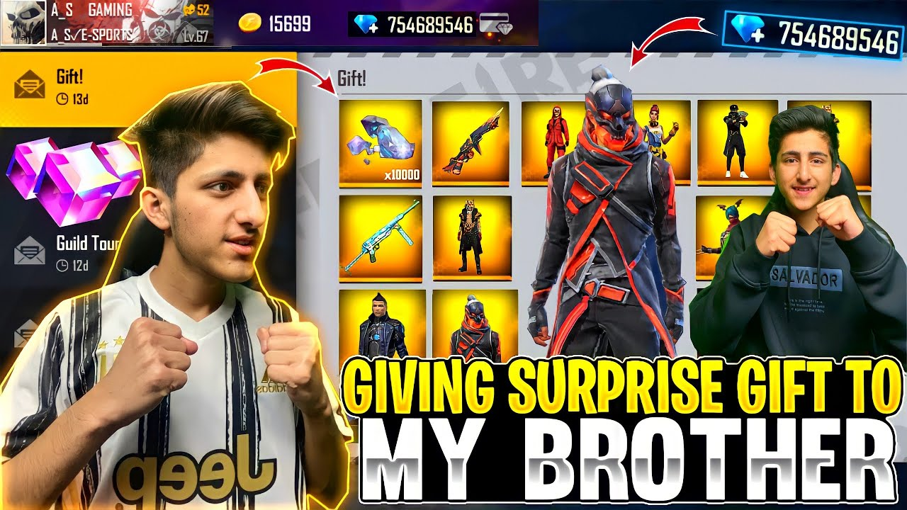 Giving Surprise Gift To My Brother 😍 Brazil Server All New Bundle, Bunny Mp40 - Garena Free Fire
