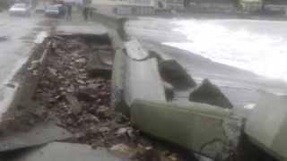 Damage to the Esplanade sea-wall at Island Bay June 21 2013