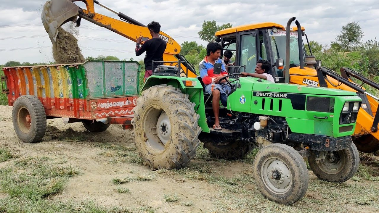 Deutz Fahr Tractor Agromaxx50 fully loaded by JCB 3DX Machine | Come To Village