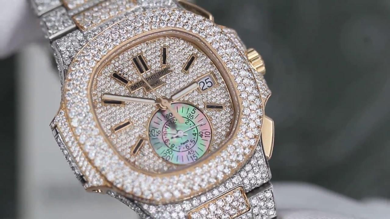 nouvelle collection 5a34f 294a8 Diamonds Patek Philippe Nautilus 2tone18K Gold Chronograph Automatic Mens  watch