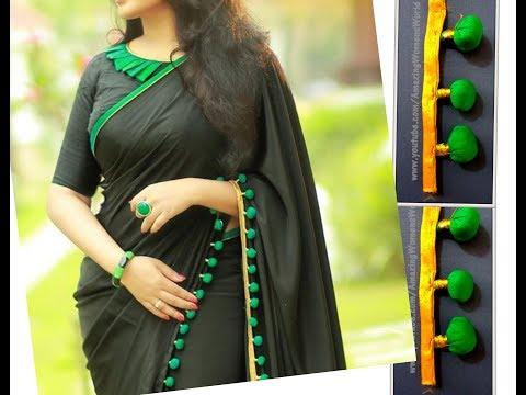 Turquoise Pom Pom Lace Making for Designer Sari / Stole / Dupatta | DIY