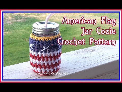 American Flag Jar Cozie Crochet Pattern