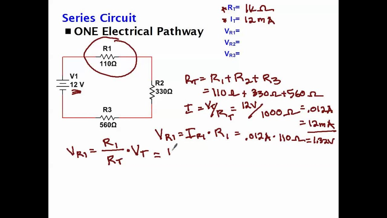 Calculating Voltage Drop Across Resistors Youtube Electrical Dc Series Circuit