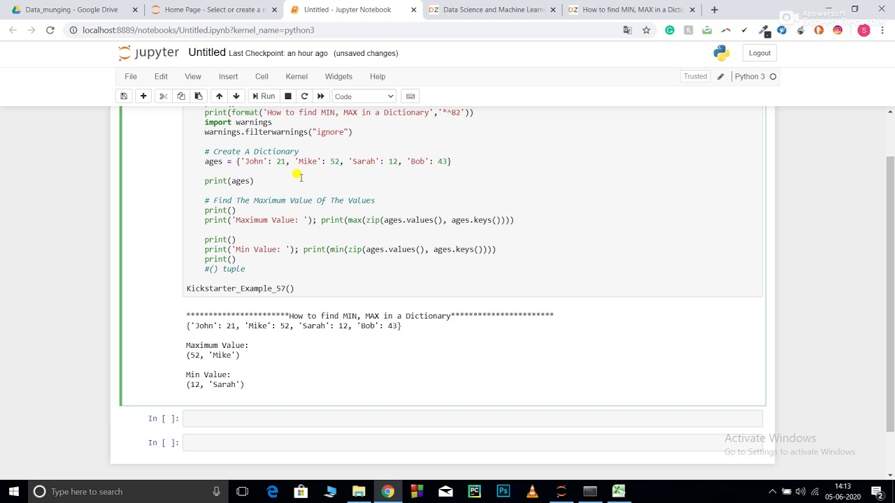 How to find MIN, MAX in a Dictionary in python