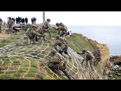 Rangers Reenact Pointe Du Hoc Climb - 75th D-Day