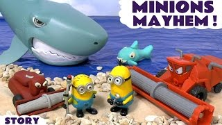 Disney Cars Toys Minions Mayhem Play Doh Stop Motion Frank with Shark Attack and Thomas and Friends