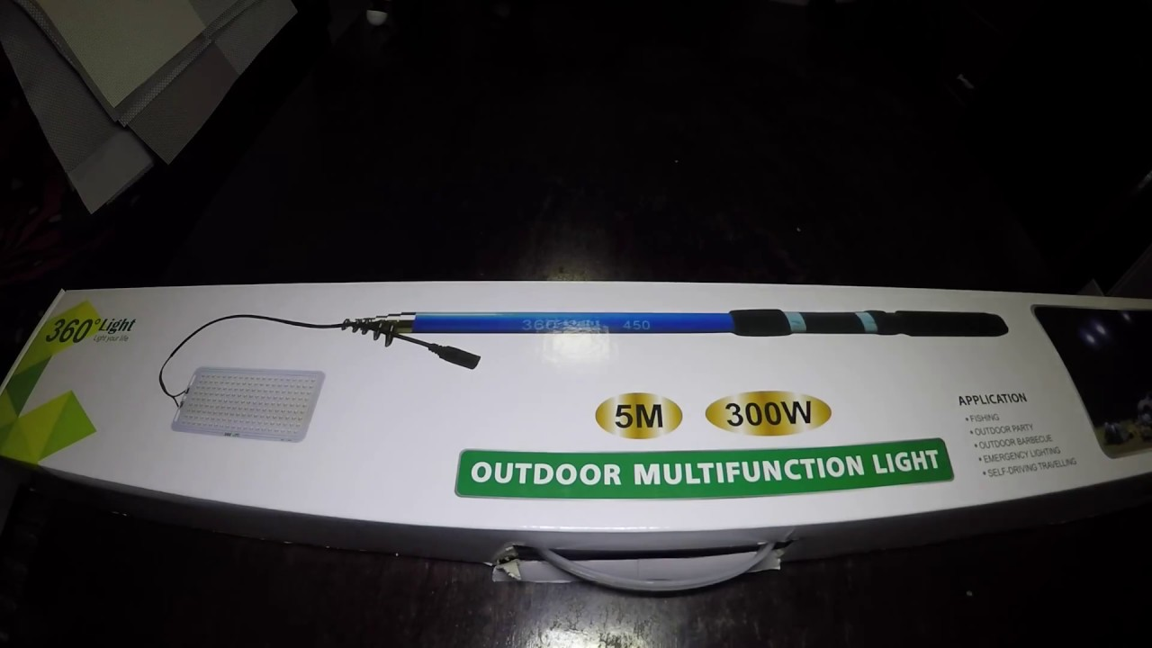 Unboxing 360 Light Outdoor Multi Function LED Light With Fish Rod