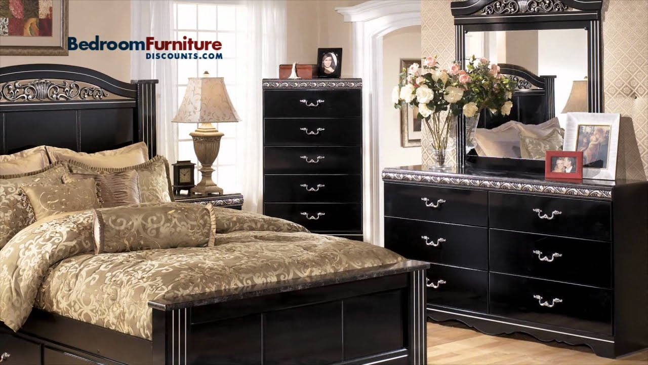 Black Bedroom Sets Ashley ashley constellations 4-piece poster bedroom set in black - youtube
