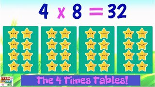 Learn the 4 Times Tables! (Behind the scenes are included!)