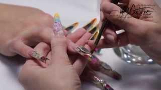 Наращивание + дизайн конкурсных ногтей