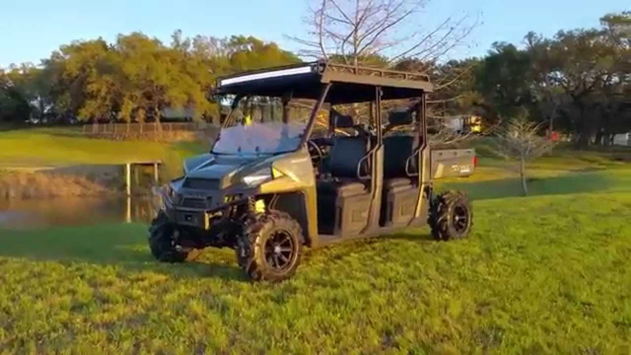 Ranch Armor Polaris Ranger Crew 900 One Piece Roof W/ LED Lights   YouTube